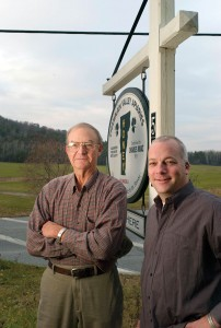 Bill Mraz (Left) and Chas Mraz are second and third generation beekeepers in Middlebury, Vermont. Caleb Kenna photo.