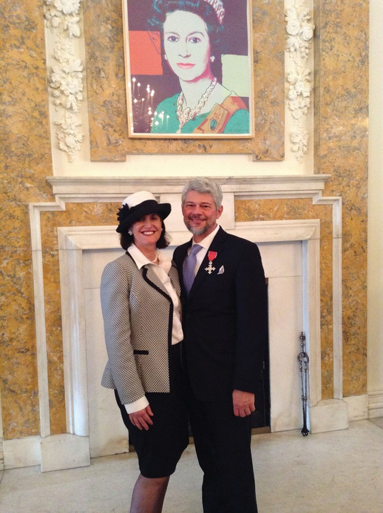 Induction into Most Excellent Order of the British Empire at British Embassy, Washington DC, Feb. 2014.
