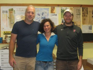 The Champlain Valley Apiaries crew from left to right: Chas Mraz, Owner, Cee Denney, Shop Manager, and Levi Doria, Head Beekeeper.""