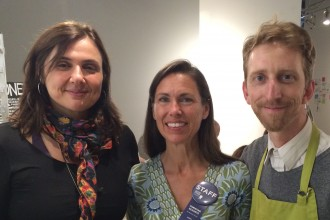 L to R – Marina Marchese honey committee member, Christine Schantz honey committee co-chair and Mark Carlson honey committee co-chair and beekeeper.