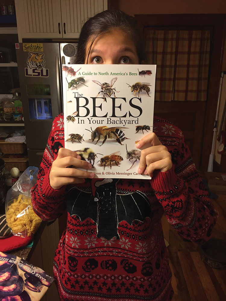 Maggie with The Bees book.