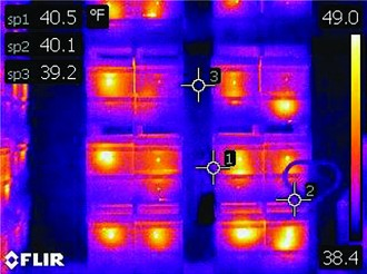 Pallets of hives in wintering shed, FLIR E60 Camera, 76,800 Radiometric Pixels.