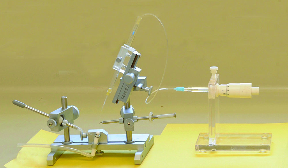 The Schley Instrument with a Harbo large capacity syringe. Fine precision is required, choose instrumentation carefully as there is no standardization and quality varies in equipment.