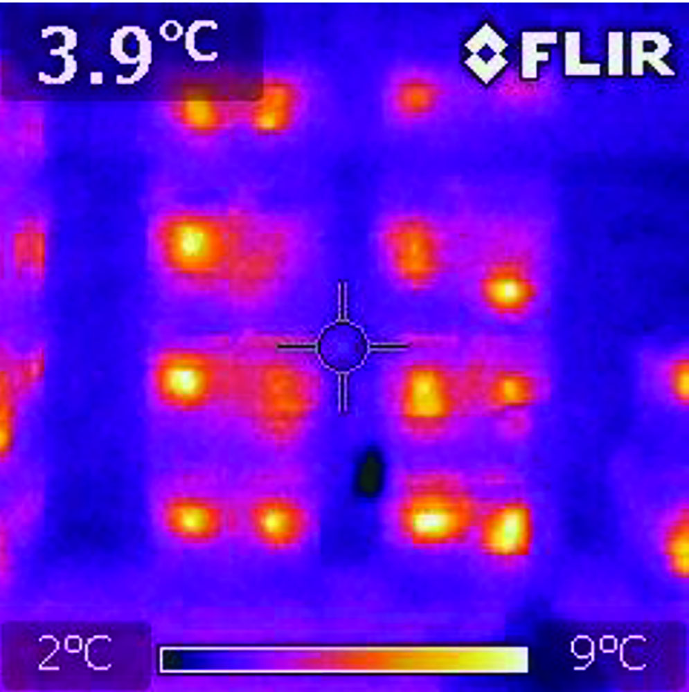 Pallets of hives in wintering shed, FLIRi7 Thermal Camera, 19,600 Radiometric Pixels.