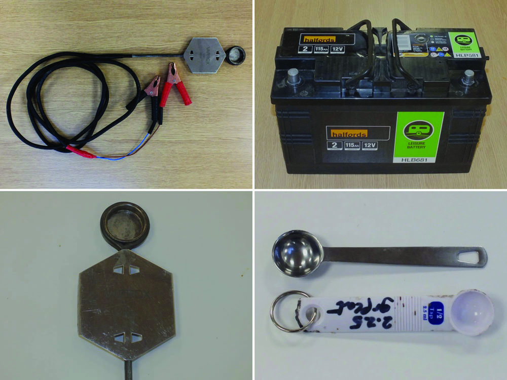 Sublimation Equipment. Top left – Varrox sublimator, 12 volts and 150 watts. Lower left – Close up of the heated cup at the end of the sublimator into which the oxalic acid crystals are placed. Top right – Lead-acid battery, 115 amp hours, capable of powering the sublimator for approximately nine hours. Lower right – Half teaspoon measures are cheap to buy and are a convenient way of dispensing oxalic acid crystals for sublimation as half a teaspoon, 2.5ml, of oxalic acid crystals is almost exactly 2.25g.
