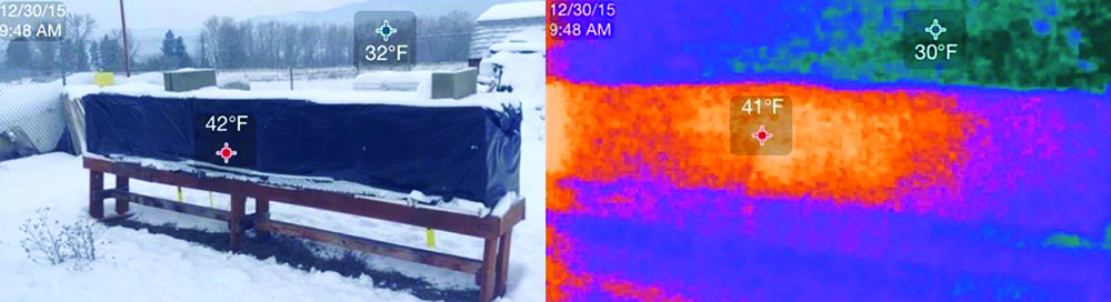 Pallets of hives in wintering shed, SEEK THERMAL COMPACT, 32,136 Radiometric Pixels