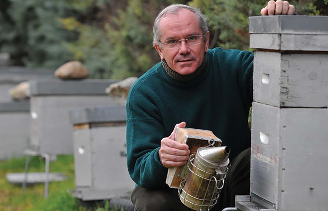 Yves Le Conte, Director of the French National Bee Lab (l'Institut National de la Recherche Agronomique, INRA) at Avignon, is studying an apiary of Varroa-resistant honey bees. (photo by Jérôme Rey)