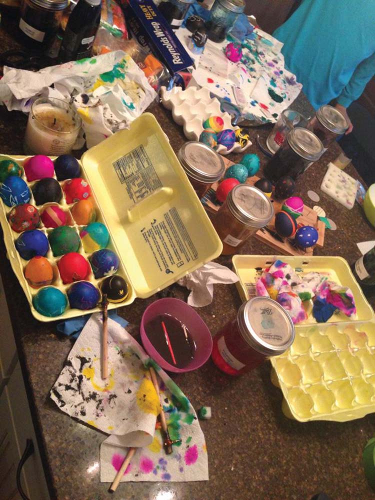 Sometimes egg dyeing makes a mess.