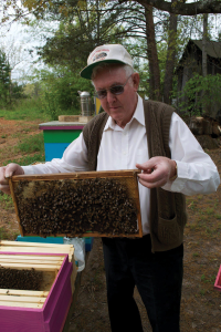 Pa Harvey with the bees.