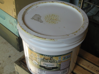 An empty container with a leak-proof lid such as this gallon-sized bucket can make a great honey bee feeder
