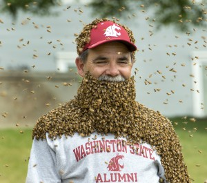 CATCH THE BUZZ – WSU provost Bernardo, Ent Dept Chair Sheppard, and Fungi Perfectii President Stamets wear bees to raise awareness of bees and research, and Beekeeper Eric Olson Kicks in $$$$$ to help!