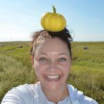 Jessie in SD, Wee-B-Little pumpkin field.