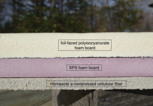 Foil-faced, polyisocyanurate offers both dense insulation and reflective qualities. Pink XPS board provides insulation, and Homasote a compressed cellulose fiber product, offers lower insulation but good water vapor retention.