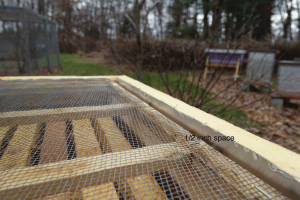 Figure 6: When the telescoping cover is in place, this ½ inch space will help reflect infrared heat back to the cluster. Radiant reflection is used for thermal efficiently in the building industry and works equally well when applied in beekeeping.