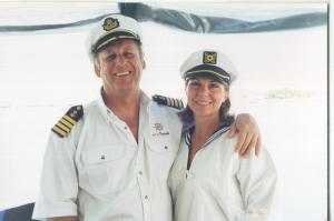 Bear and MaryBeth on the open seas.