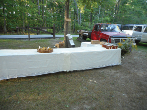 First the tables and clean pressed table covering.