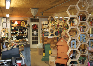 A partial view inside the store. Products and arrangements change frequently.