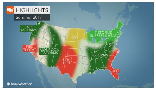 CATCH THE BUZZ – 2017 US summer forecast: Early storms to hold back heat in Northeast; Wildfires to rage in California