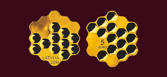 "CATCH THE BUZZ – The New Latvian ""Honey Coin"" Featuring Honeycomb Cells is Struck in Silver and Plated With Gold."