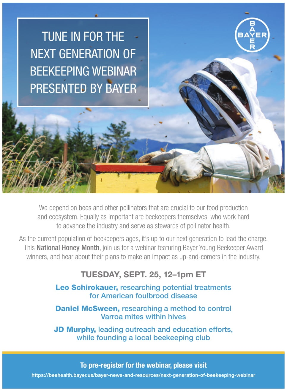 CATCH THE BUZZ – The Kim & Jim Show – The Next Generation of Beekeeping – Presented by Bayer – September 25, 2018 @ 12pm EST