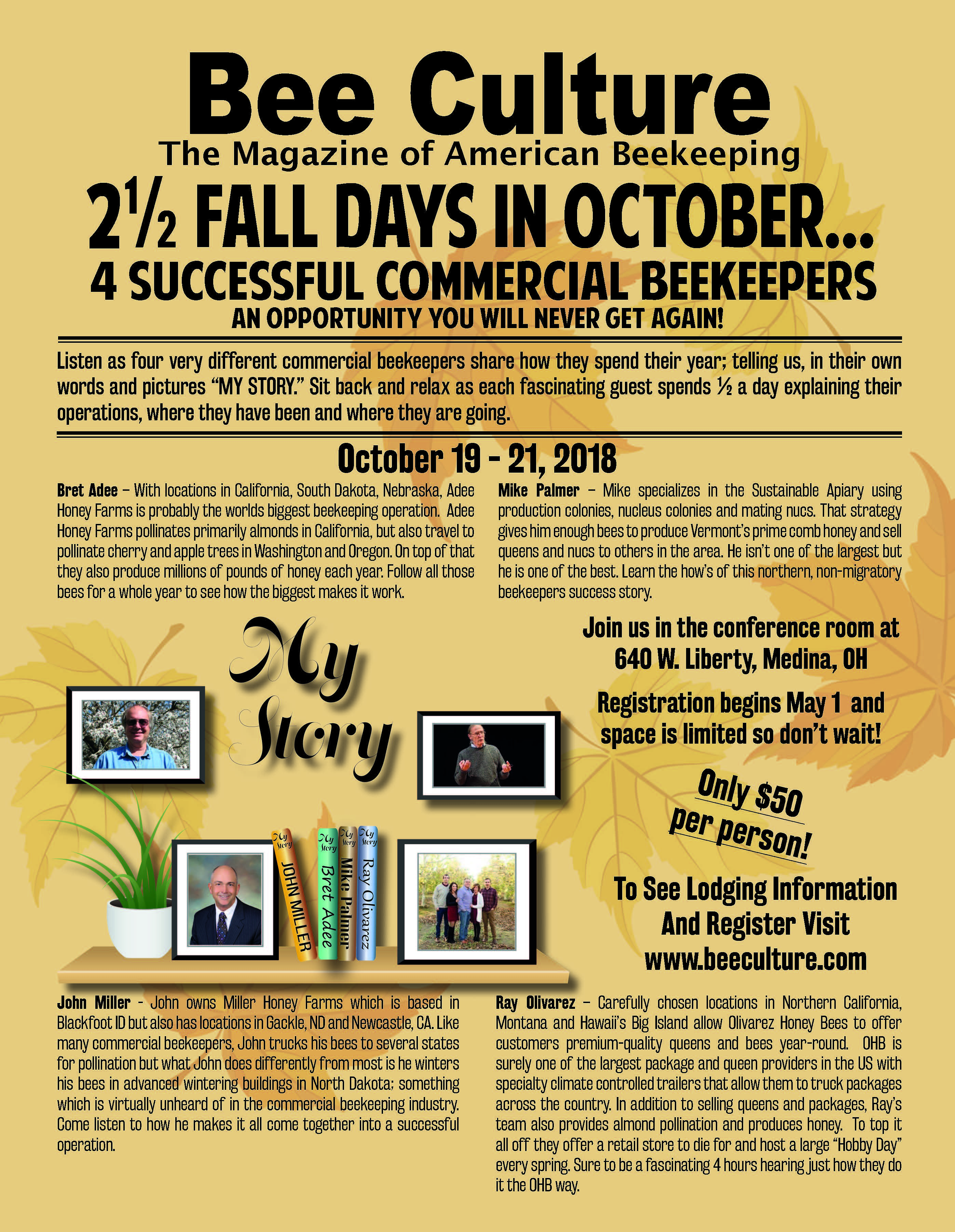 "CATCH THE BUZZ – Bee Culture's Fall Event – ""My Story"" – October 2018"