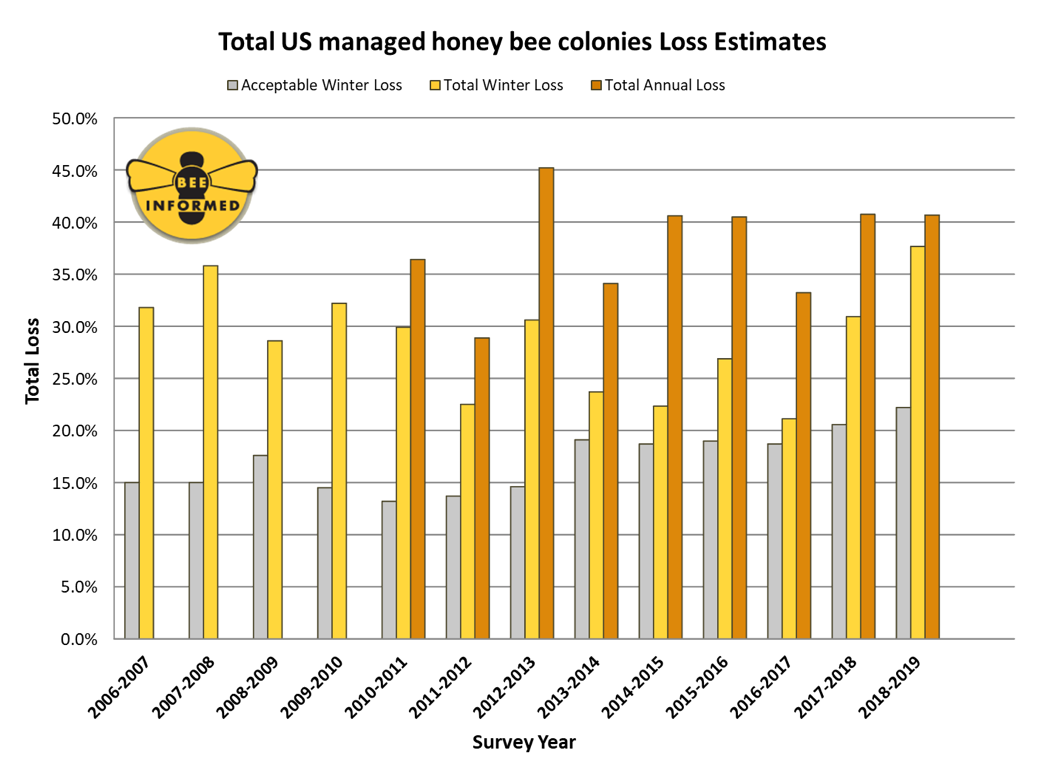 CATCH THE BUZZ – During the 2018-2019 Winter an Estimated 37.7% of Managed Honey Bee Colonies in The United States Were Lost.