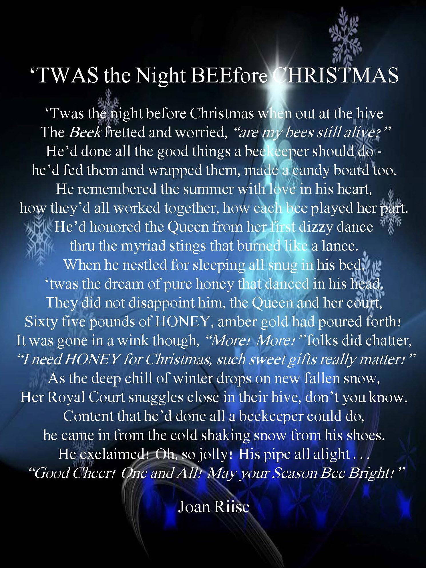 CATCH THE BUZZ – 'Twas the Night BEEfore Christmas